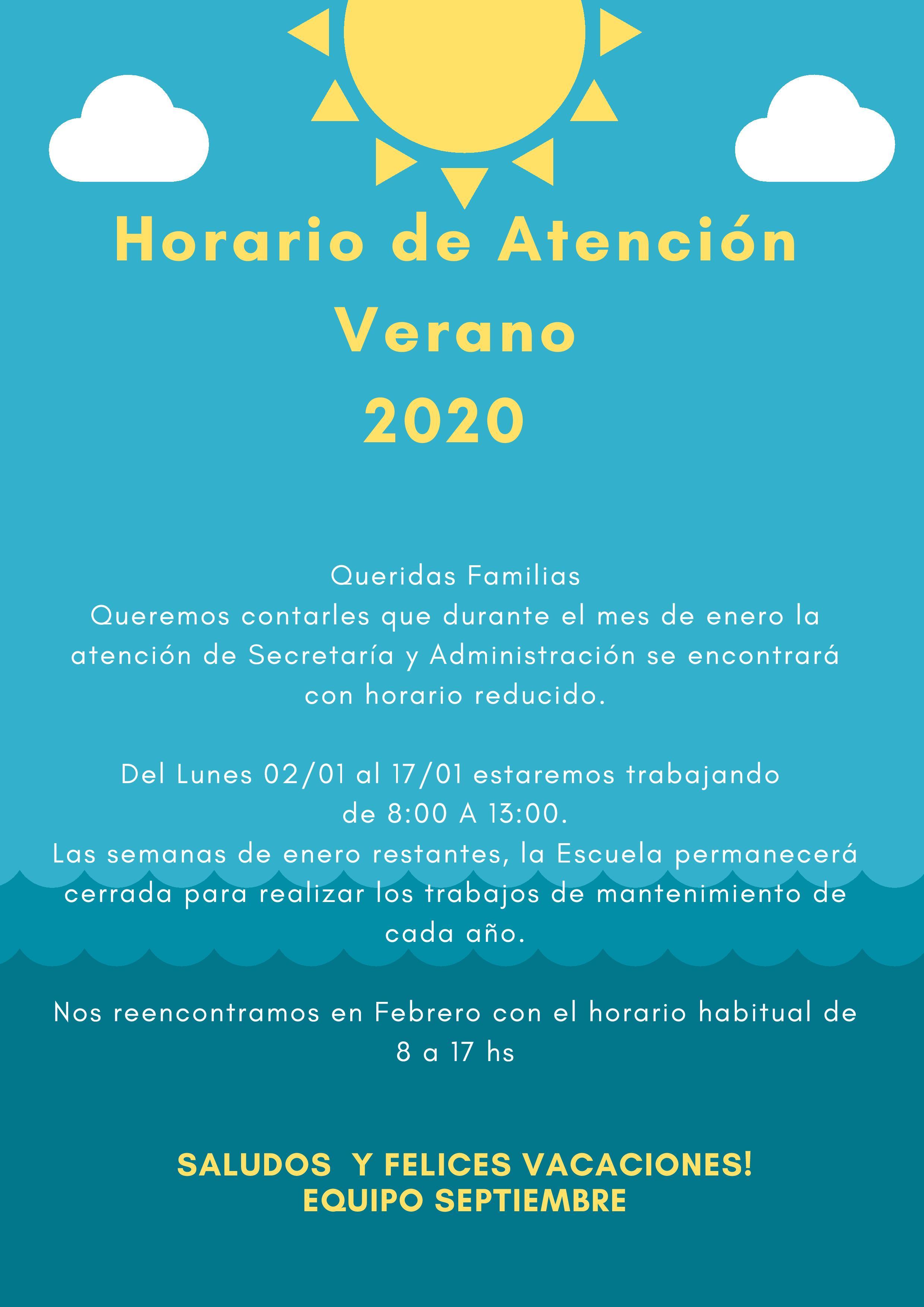 Horario de Atención de Verano 2020